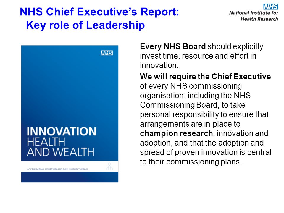 Every NHS Board should explicitly invest time, resource and effort in innovation.