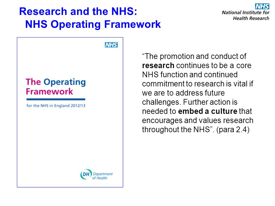 The promotion and conduct of research continues to be a core NHS function and continued commitment to research is vital if we are to address future ch