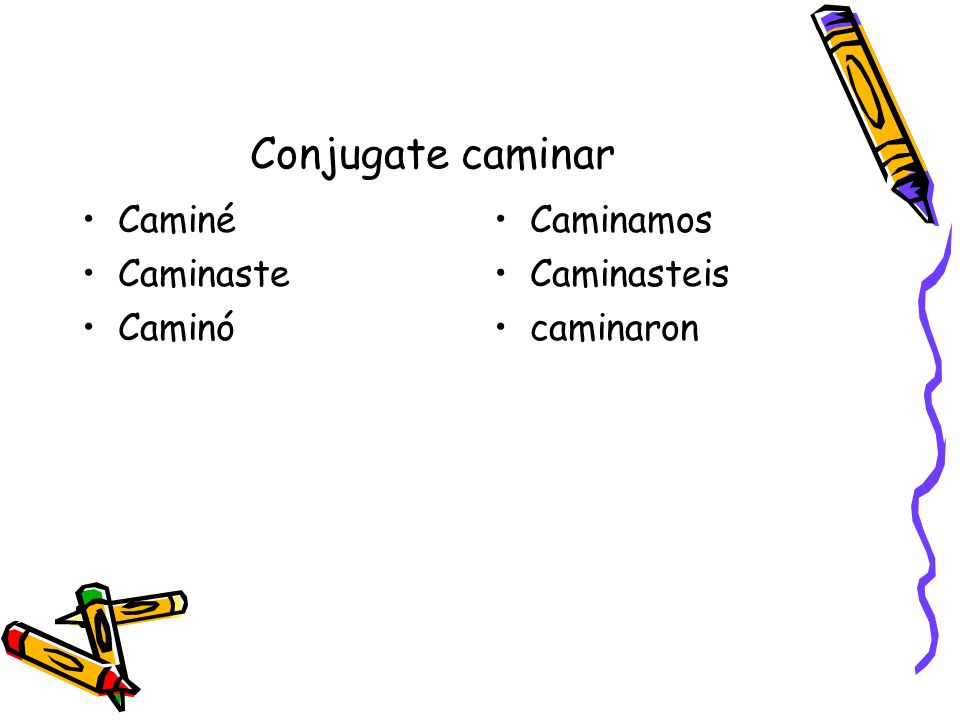 What does each conjugation mean.