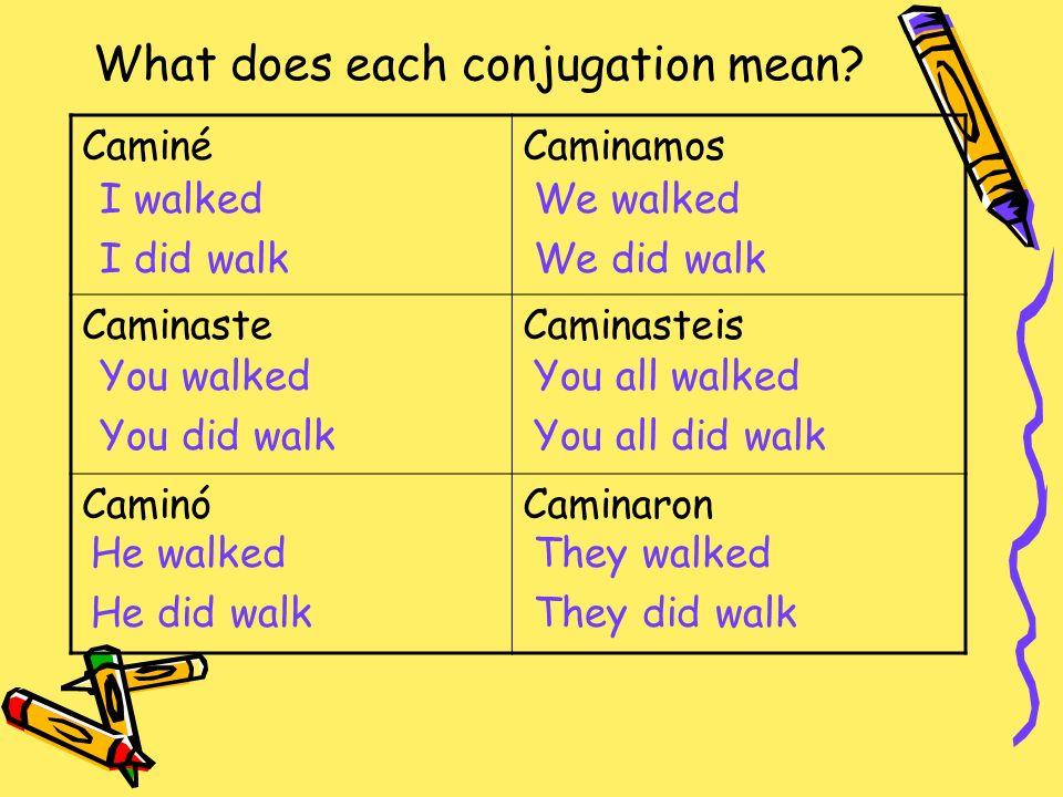 What does each conjugation mean? CaminéCaminamos CaminasteCaminasteis CaminóCaminaron I walked I did walk You walked You did walk He walked He did wal