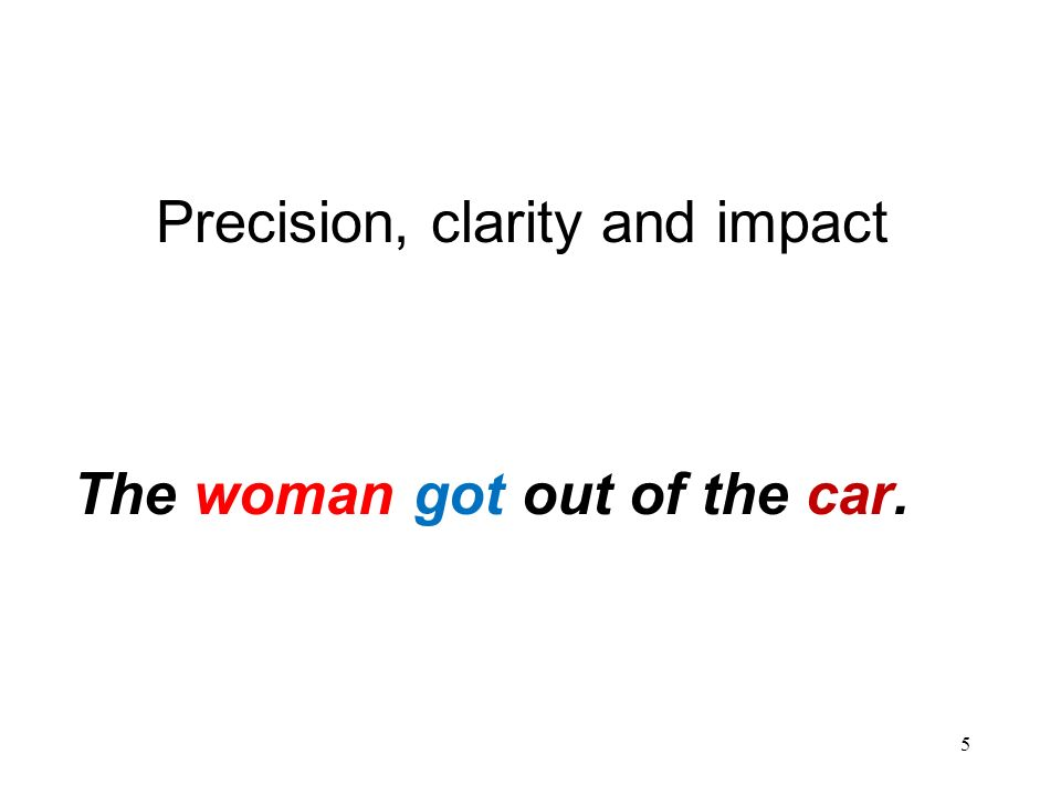 5 Precision, clarity and impact The woman got out of the car.