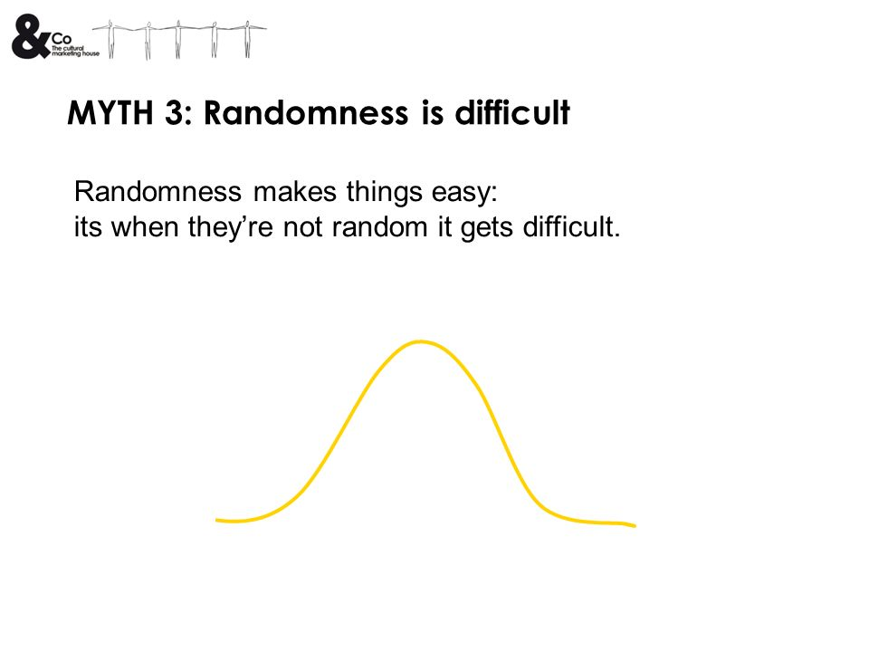 MYTH 3: Randomness is difficult Randomness makes things easy: its when theyre not random it gets difficult.