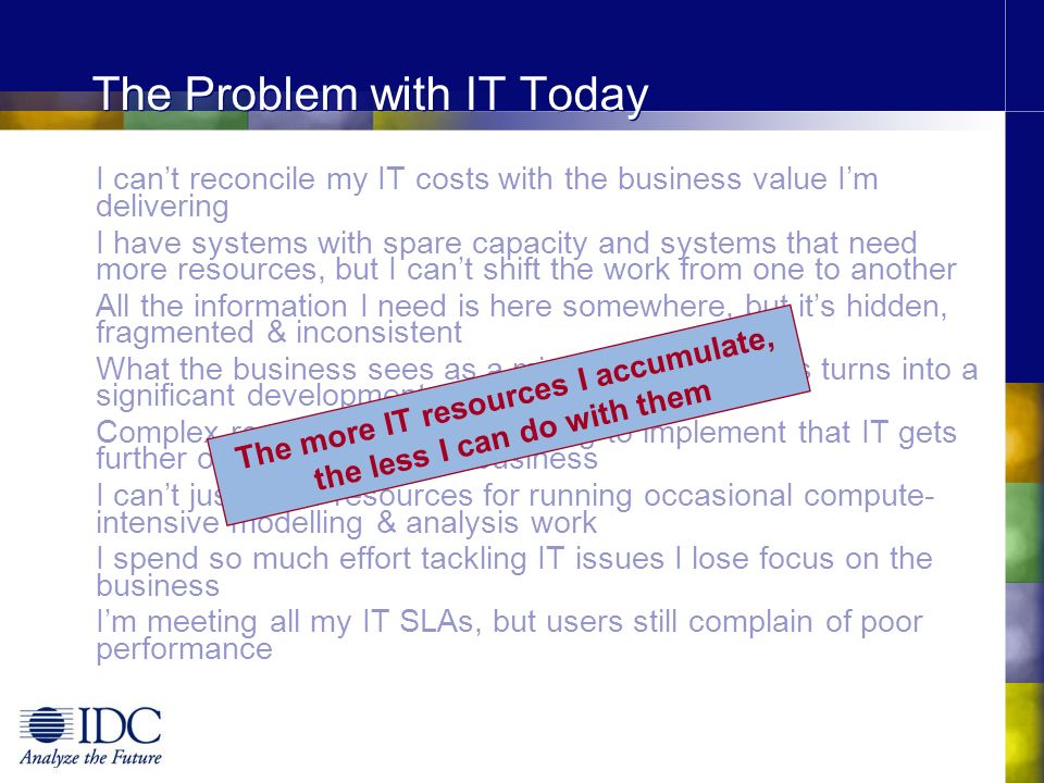 The Problem with IT Today I cant reconcile my IT costs with the business value Im delivering I have systems with spare capacity and systems that need