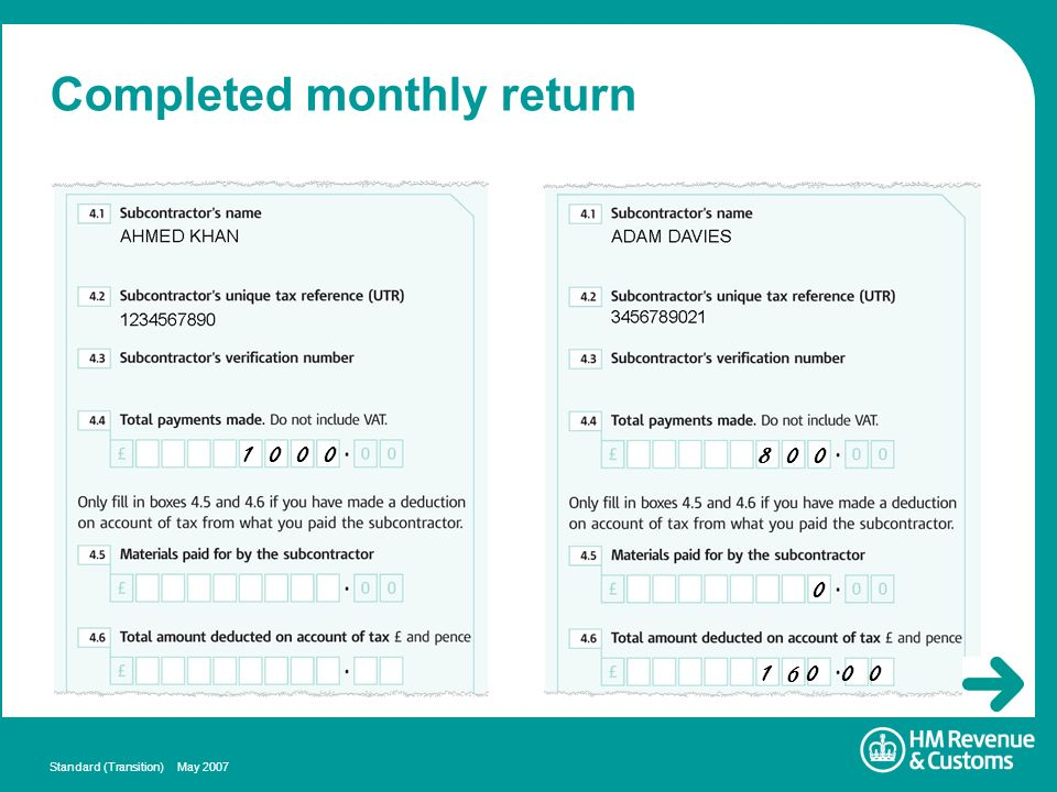 Standard (Transition) May 2007 Completed monthly return 1 0 0 0 8 0 0 0 1 6 0 0 0