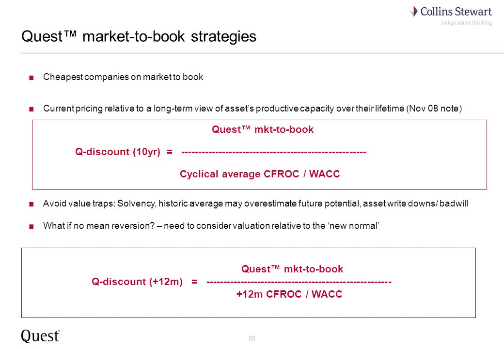 20 Quest market-to-book strategies Cheapest companies on market to book Current pricing relative to a long-term view of assets productive capacity over their lifetime (Nov 08 note) Quest mkt-to-book Q-discount (10yr) = ------------------------------------------------------ Cyclical average CFROC / WACC Avoid value traps: Solvency, historic average may overestimate future potential, asset write downs/ badwill What if no mean reversion.