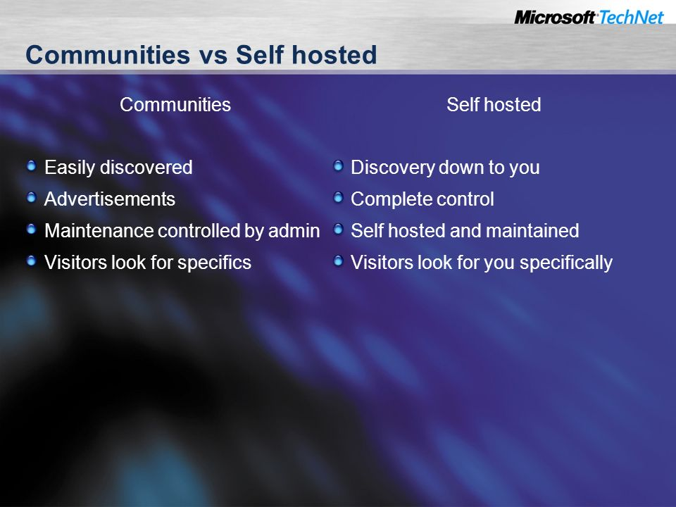 Communities vs Self hosted Communities Easily discovered Advertisements Maintenance controlled by admin Visitors look for specifics Self hosted Discovery down to you Complete control Self hosted and maintained Visitors look for you specifically