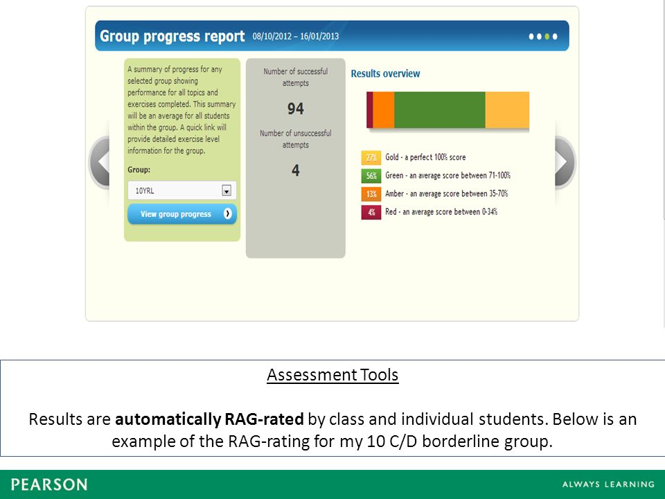 Assessment Tools Results are automatically RAG-rated by class and individual students.