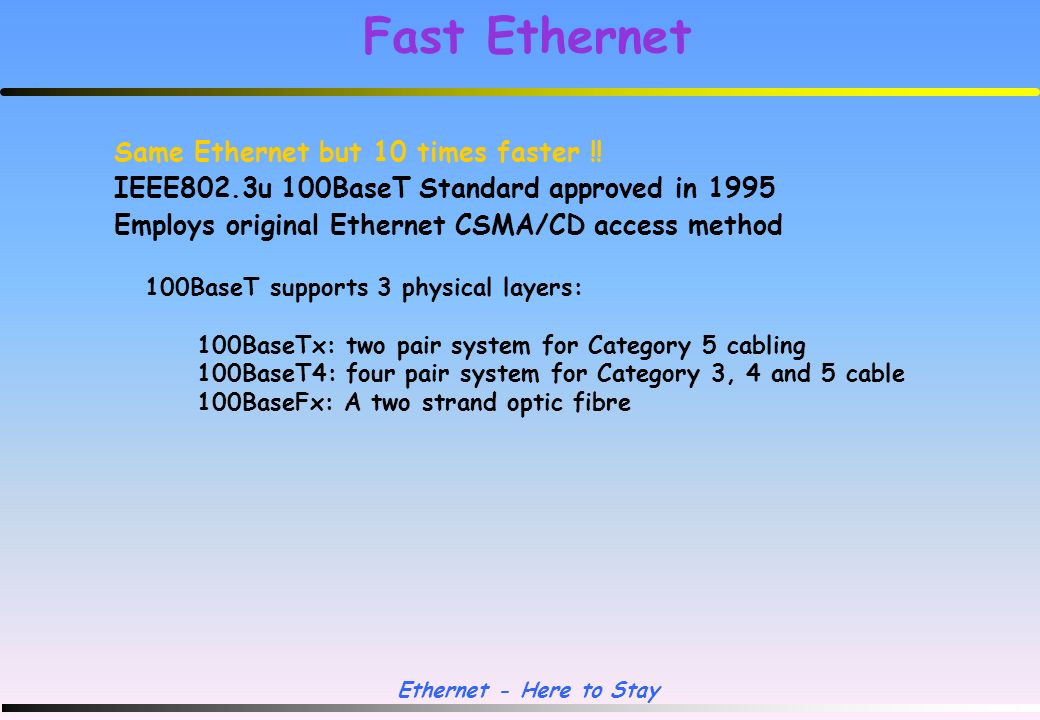 Ethernet - Here to Stay Structured Cabling Ethernet over twisted pair telephone cable !.