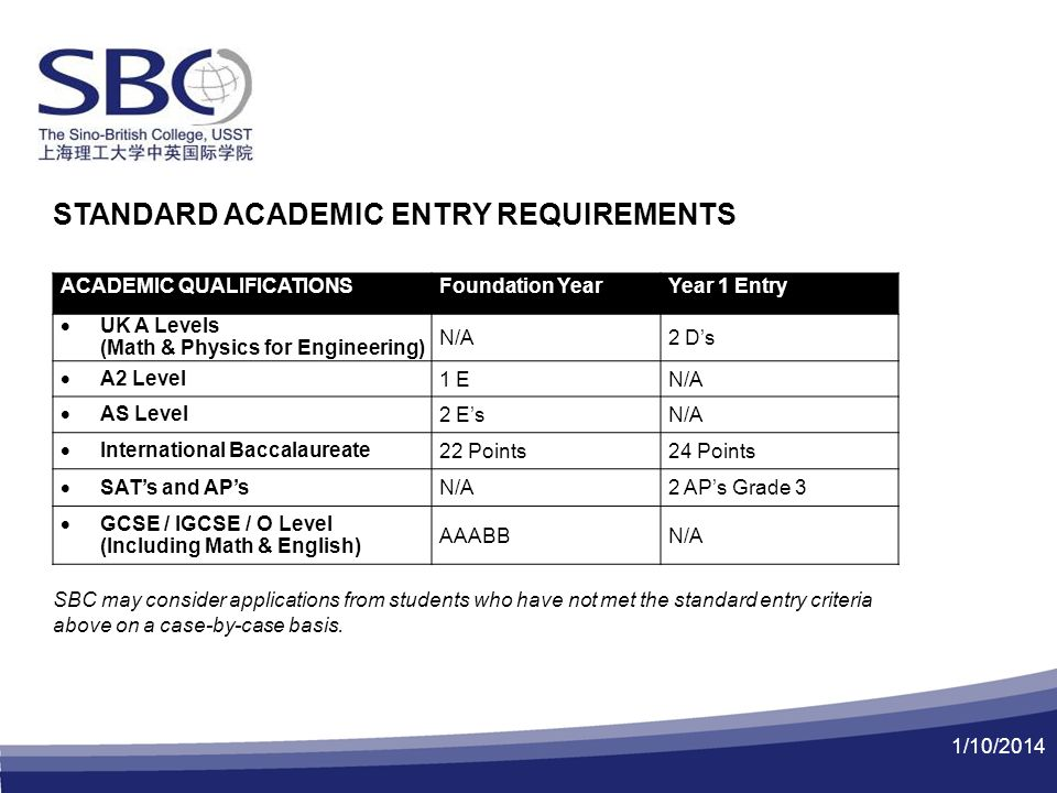 1/10/2014 STANDARD ACADEMIC ENTRY REQUIREMENTS SBC may consider applications from students who have not met the standard entry criteria above on a case-by-case basis.