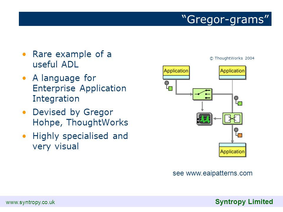 www.syntropy.co.uk Syntropy Limited Gregor-grams Rare example of a useful ADL A language for Enterprise Application Integration Devised by Gregor Hohp