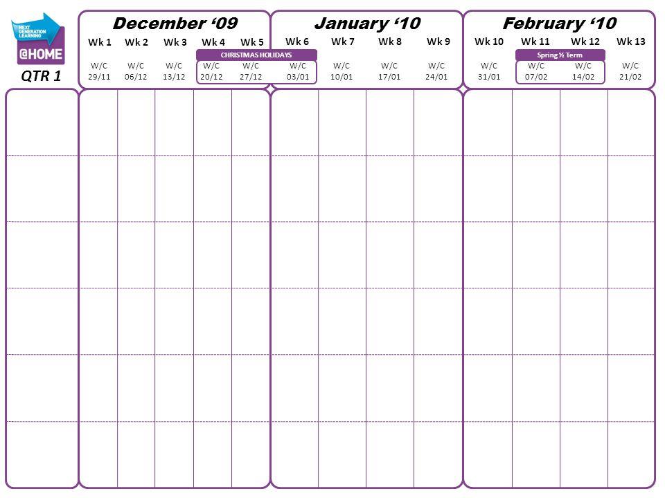 CHRISTMAS HOLIDAYS December 09January 10February 10 Wk 1Wk 2Wk 3Wk 4Wk 5 Wk 6Wk 7Wk 8Wk 9Wk 10Wk 11Wk 12Wk 13 W/C 29/11 W/C 06/12 W/C 13/12 W/C 20/12
