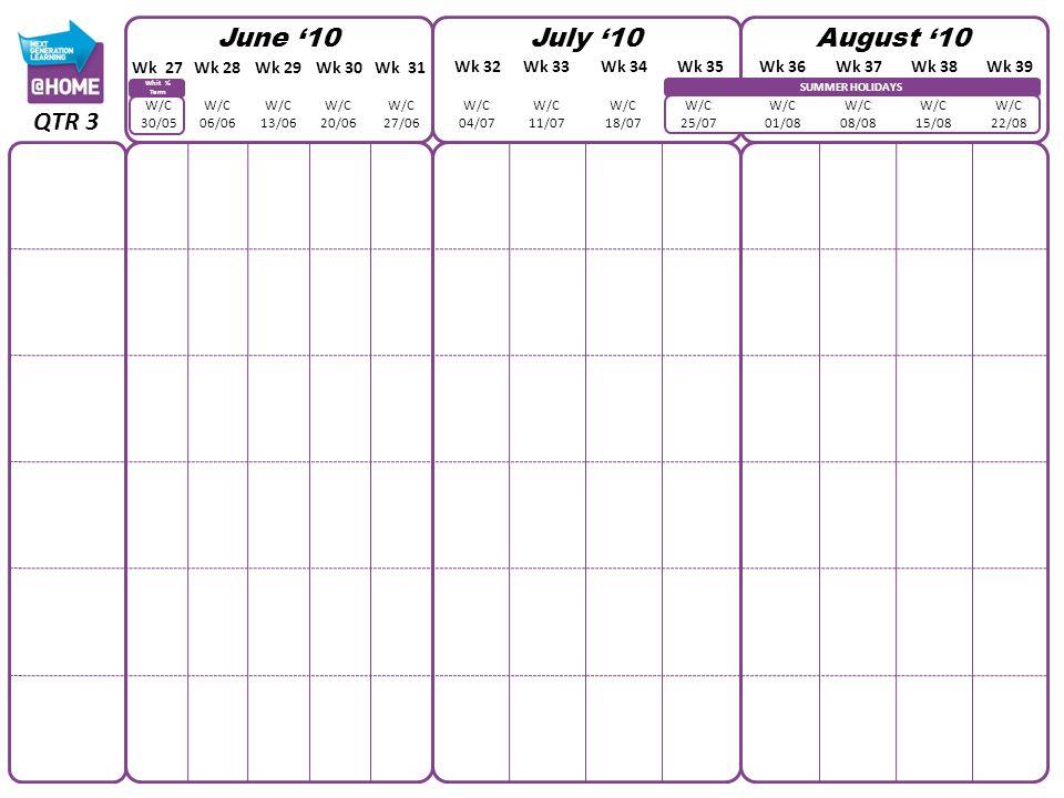 SUMMER HOLIDAYS June 10July 10August 10 W/C 30/05 W/C 06/06 W/C 13/06 W/C 20/06 W/C 27/06 W/C 04/07 W/C 11/07 W/C 18/07 W/C 25/07 W/C 01/08 W/C 08/08 W/C 15/08 W/C 22/08 QTR 3 Wk 27Wk 28Wk 29Wk 30Wk 31 Wk 32Wk 33Wk 34Wk 35Wk 36Wk 37Wk 38Wk 39 Whit ½ Term
