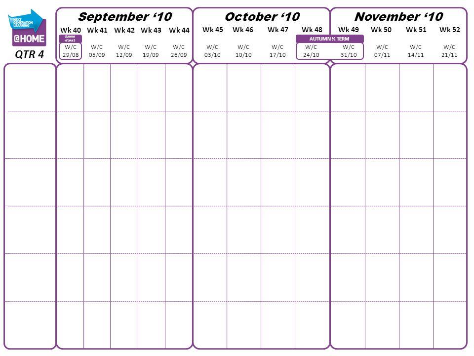 AUTUMN ½ TERM SUMM HDAYS September 10October 10November 10 W/C 29/08 W/C 05/09 W/C 12/09 W/C 19/09 W/C 26/09 W/C 03/10 W/C 10/10 W/C 17/10 W/C 24/10 W/C 31/10 W/C 07/11 W/C 14/11 W/C 21/11 QTR 4 Wk 40Wk 41Wk 42Wk 43Wk 44 Wk 45Wk 46Wk 47Wk 48Wk 49Wk 50Wk 51Wk 52