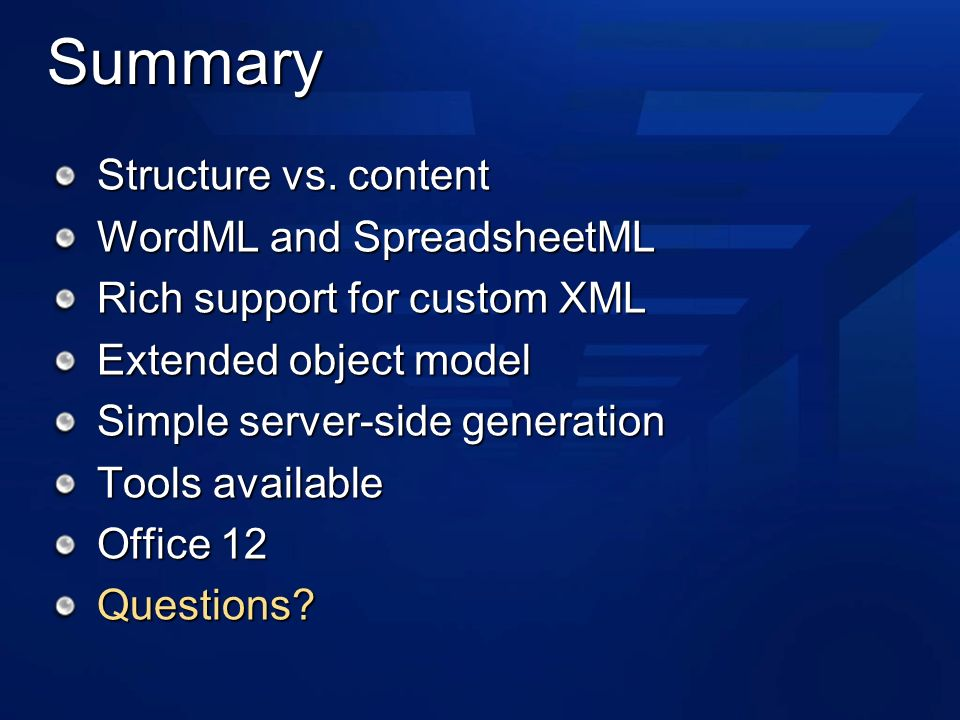 Summary Structure vs.