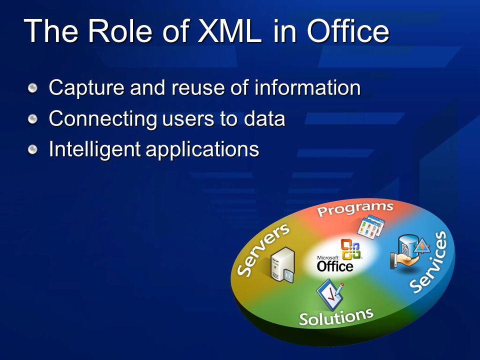 The Role of XML in Office Capture and reuse of information Connecting users to data Intelligent applications