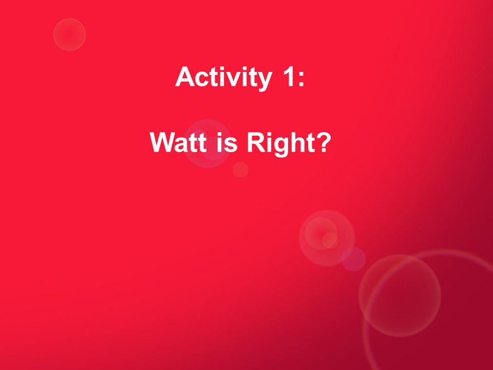 Activity 1: Watt is Right