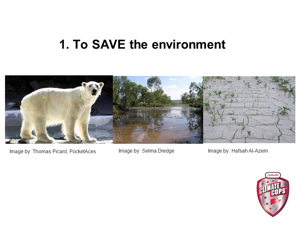 1. To SAVE the environment Image by: Thomas Picard, PocketAces Image by: Hafsah Al-AzemImage by: Selma Dredge