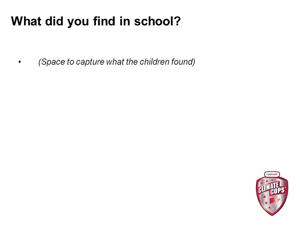 What did you find in school (Space to capture what the children found)