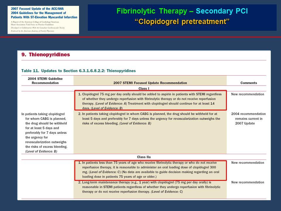 Fibrinolytic Therapy – Secondary PCI Clopidogrel pretreatment
