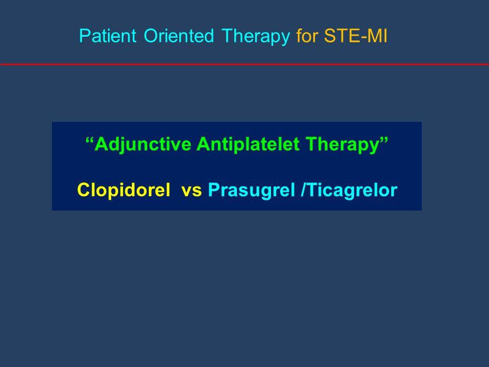 Patient Oriented Therapy for STE-MI Adjunctive Antiplatelet Therapy Clopidorel vs Prasugrel /Ticagrelor