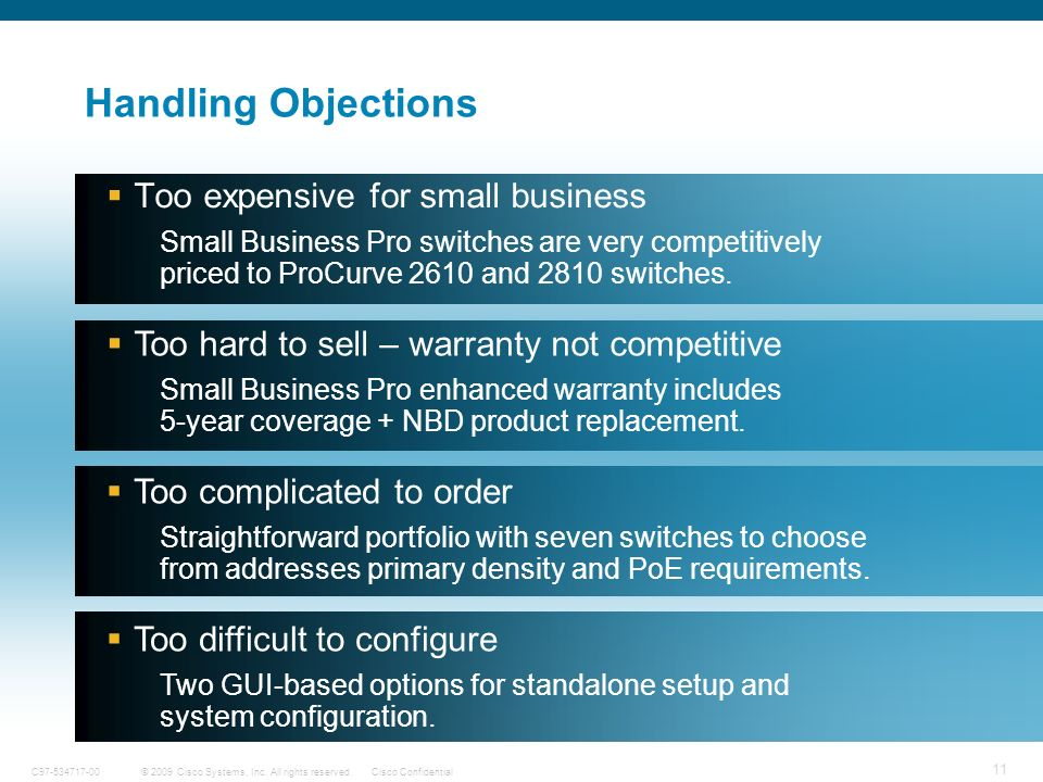 11 © 2009 Cisco Systems, Inc. All rights reserved.Cisco ConfidentialC97-534717-00 Handling Objections Too expensive for small business Small Business