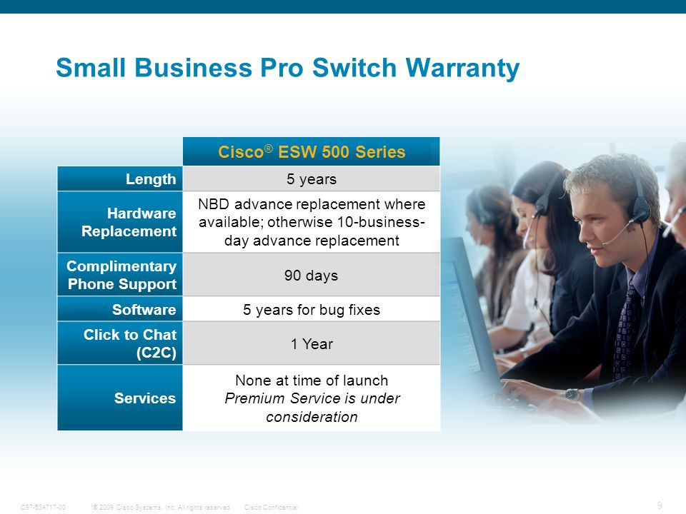 9 © 2009 Cisco Systems, Inc. All rights reserved.Cisco ConfidentialC97-534717-00 Small Business Pro Switch Warranty Cisco ® ESW 500 Series Length5 yea