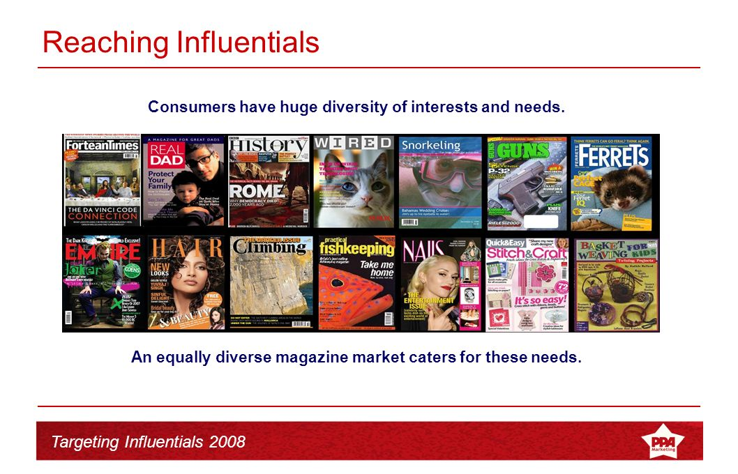 Targeting Influentials 2008 Reaching Influentials Those consumers that are most enthusiastic will form the core readership of magazines servicing this community As consumers form communities of interest magazine publishers create content that provides entertainment and information that feeds this community.