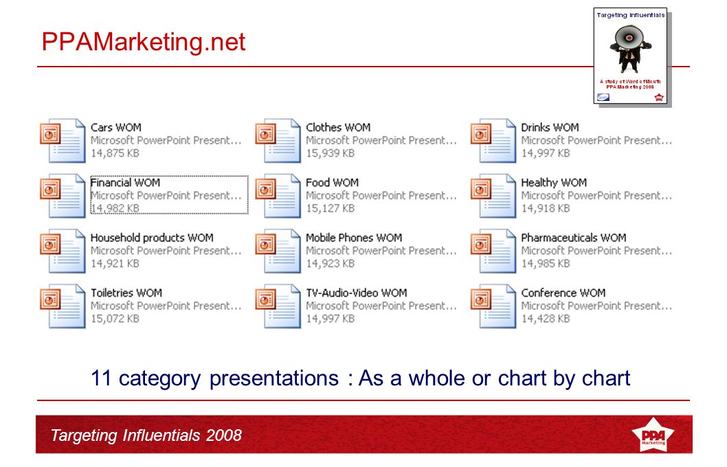 Targeting Influentials 2008 PPAMarketing.net TGI Analysis of 11 categories