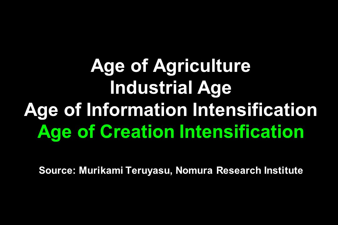 Age of Agriculture Industrial Age Age of Information Intensification Age of Creation Intensification Source: Murikami Teruyasu, Nomura Research Instit