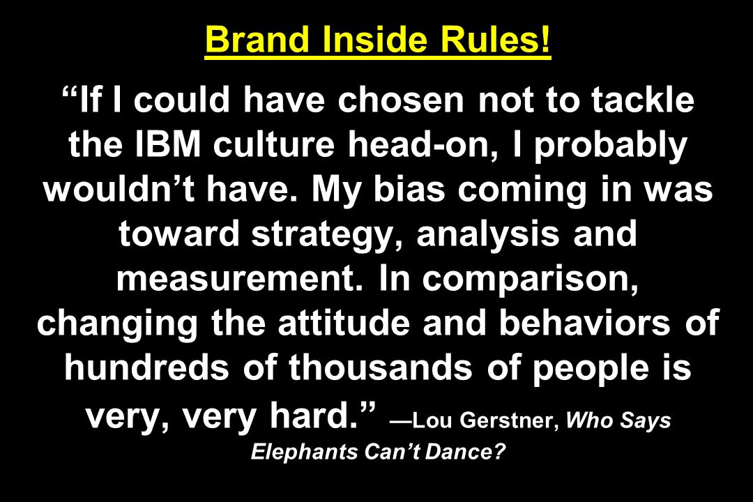 Brand Inside Rules! If I could have chosen not to tackle the IBM culture head-on, I probably wouldnt have. My bias coming in was toward strategy, anal
