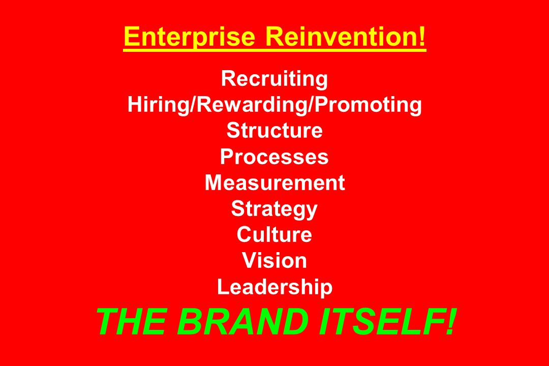 Enterprise Reinvention! Recruiting Hiring/Rewarding/Promoting Structure Processes Measurement Strategy Culture Vision Leadership THE BRAND ITSELF!
