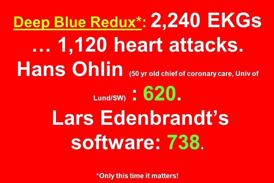 Deep Blue Redux*: 2,240 EKGs … 1,120 heart attacks. Hans Ohlin (50 yr old chief of coronary care, Univ of Lund/SW) : 620. Lars Edenbrandts software: 7