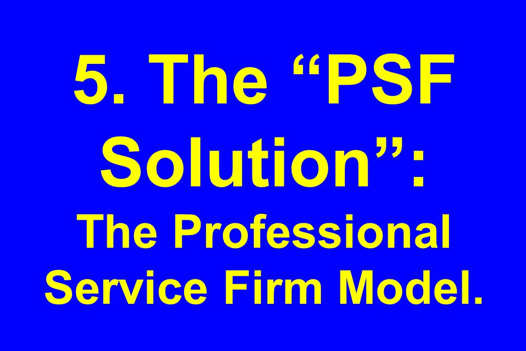5. The PSF Solution: The Professional Service Firm Model.