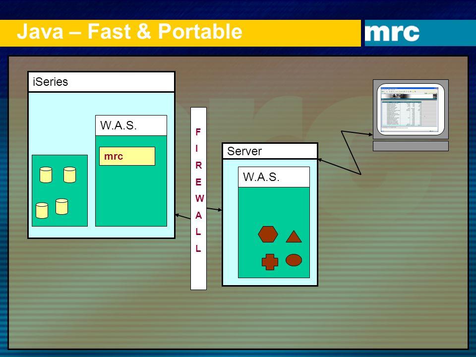 Java – Fast & Portable iSeries W.A.S. mrc Server W.A.S. FIREWALLFIREWALL