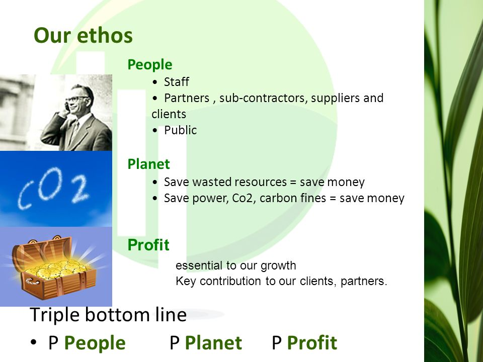 Our ethos People Staff Partners, sub-contractors, suppliers and clients Public Planet Save wasted resources = save money Save power, Co2, carbon fines = save money Profit essential to our growth Key contribution to our clients, partners.