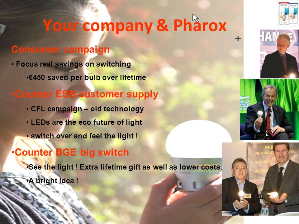 Your company & Pharox Consumer campaign Focus real savings on switching 450 saved per bulb over lifetime Counter ESB customer supply CFL campaign – old technology LEDs are the eco future of light switch over and feel the light .