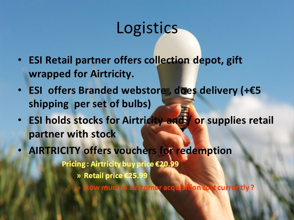 Logistics ESI Retail partner offers collection depot, gift wrapped for Airtricity.