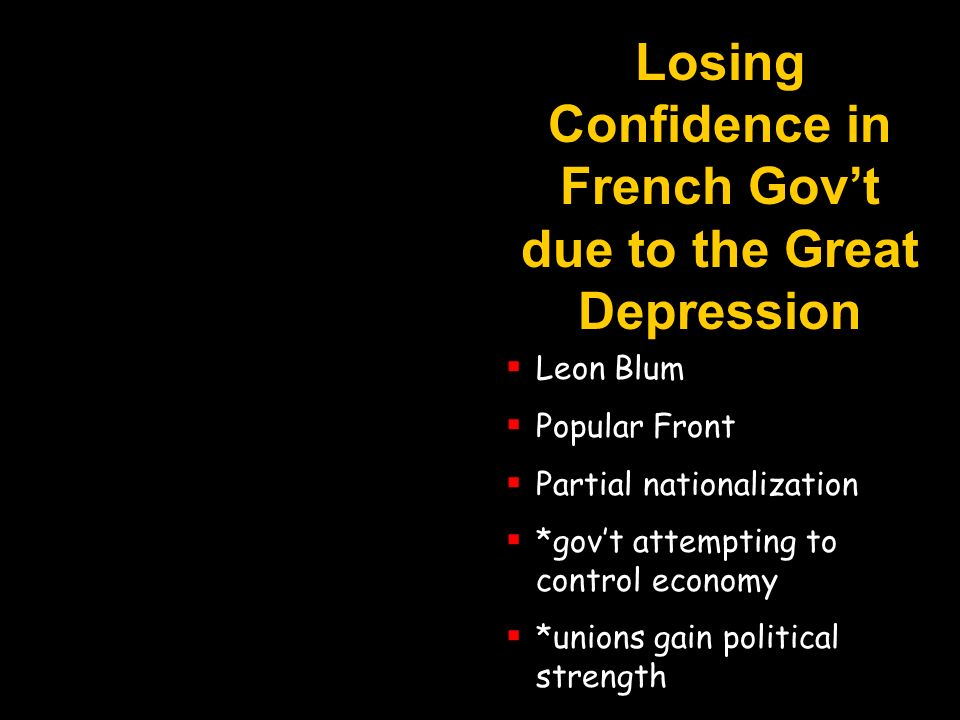 Losing Confidence in French Govt due to the Great Depression Leon Blum Popular Front Partial nationalization *govt attempting to control economy *unio