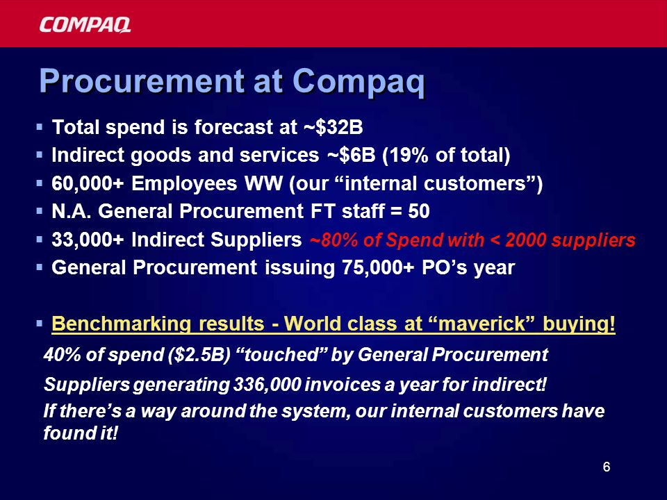 6 Procurement at Compaq Total spend is forecast at ~$32B Indirect goods and services ~$6B (19% of total) 60,000+ Employees WW (our internal customers) N.A.