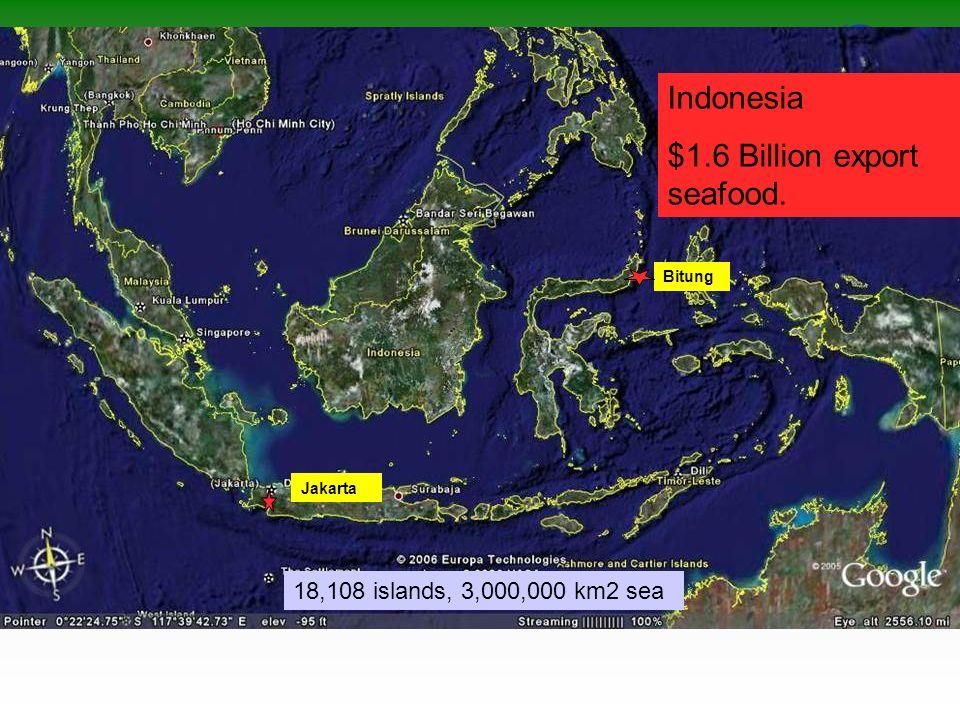 Jakarta Bitung Indonesia $1.6 Billion export seafood. 18,108 islands, 3,000,000 km2 sea