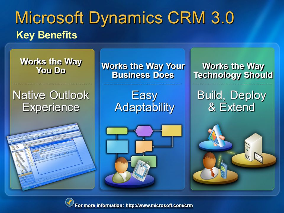 For more information: http://www.microsoft.com/crm Microsoft Dynamics CRM 3.0 Key Benefits Native Outlook Experience Works the Way You Do Easy Adaptability Works the Way Your Business Does Build, Deploy & Extend Works the Way Technology Should