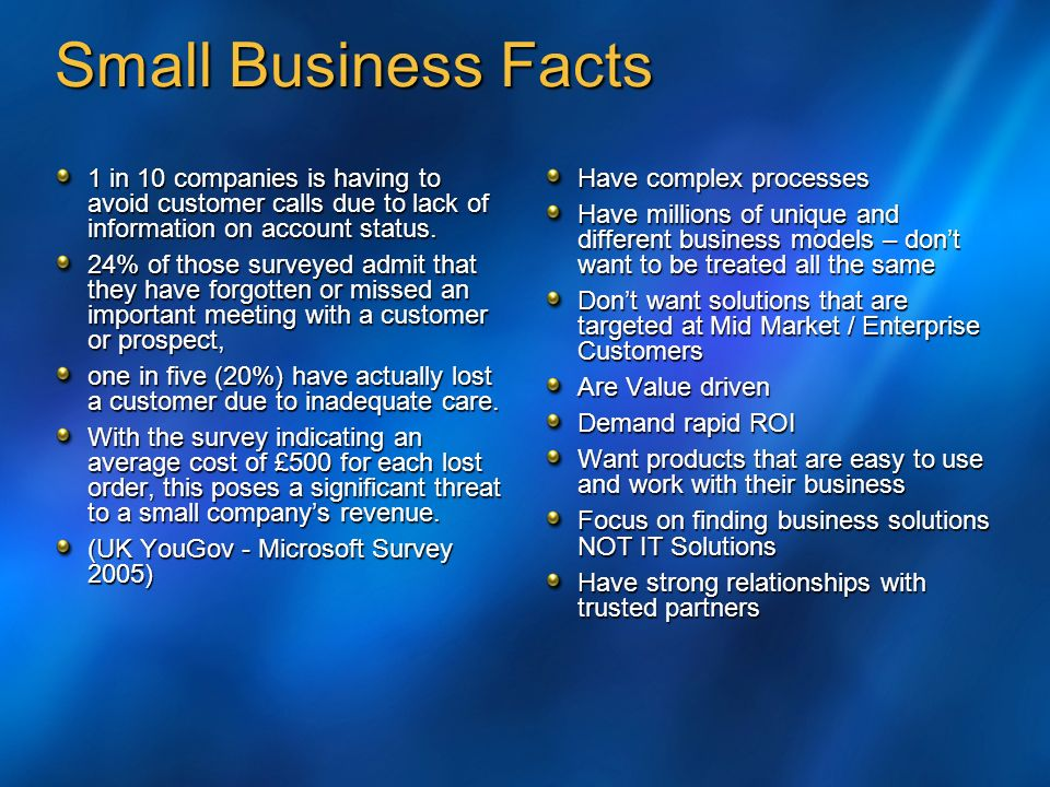 Small Business Facts 1 in 10 companies is having to avoid customer calls due to lack of information on account status.