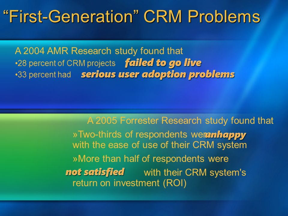 A 2004 AMR Research study found that 28 percent of CRM projects 33 percent had A 2005 Forrester Research study found that »Two-thirds of respondents were with the ease of use of their CRM system »More than half of respondents were with their CRM system s return on investment (ROI) First-Generation CRM Problems