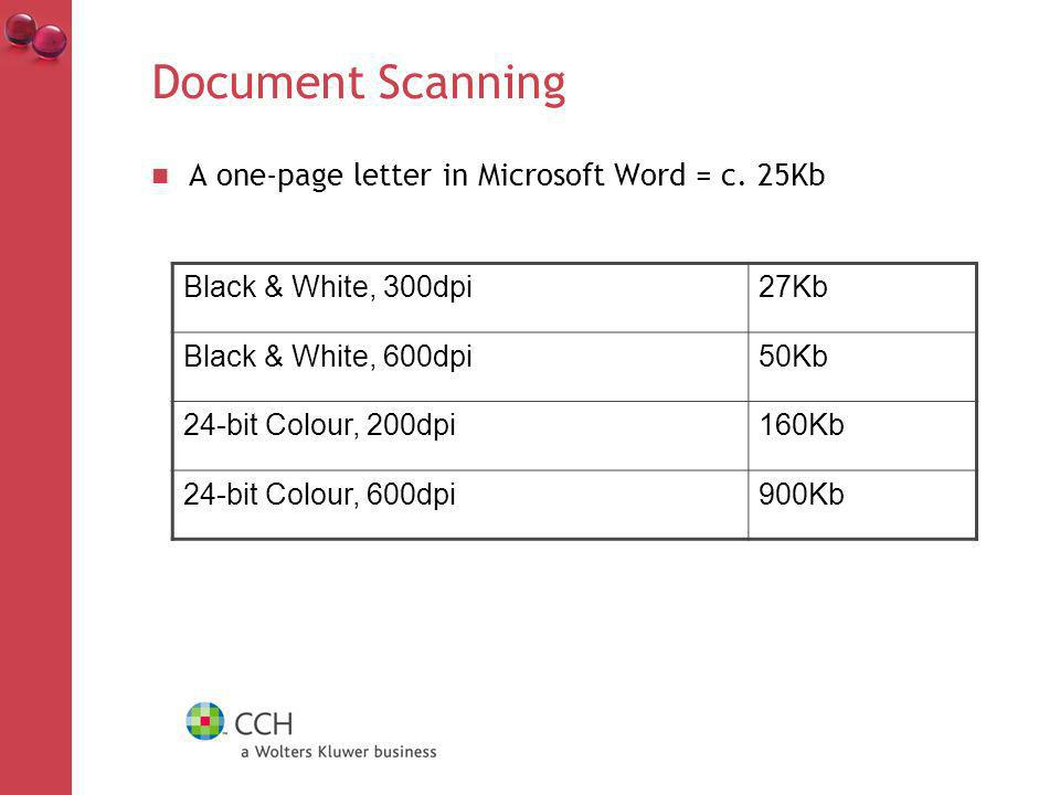 Document Scanning A one-page letter in Microsoft Word = c.