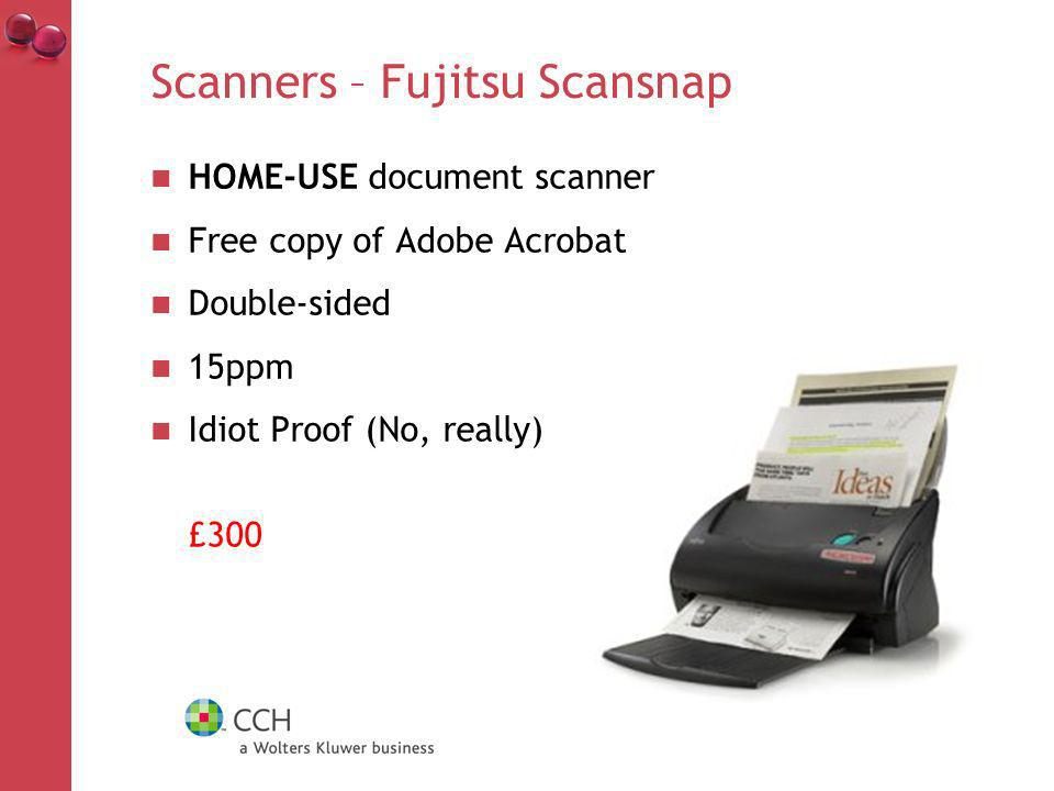 Scanners – Fujitsu Scansnap HOME-USE document scanner Free copy of Adobe Acrobat Double-sided 15ppm Idiot Proof (No, really) £300