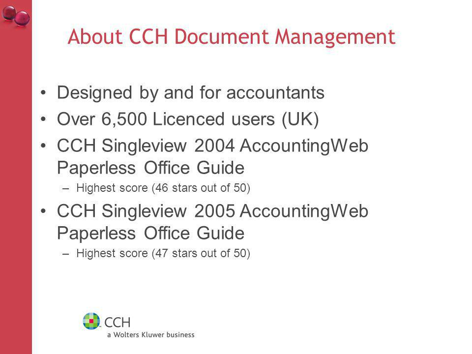 About CCH Document Management New.net version launched Dec 2009 Sharepoint style filing Document viewer Portal Smart filing Fully integrated into CCH Central