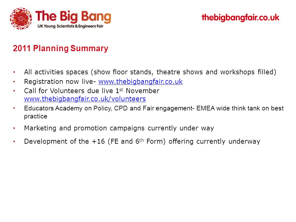 2011 Planning Summary All activities spaces (show floor stands, theatre shows and workshops filled) Registration now live- www.thebigbangfair.co.ukwww.thebigbangfair.co.uk Call for Volunteers due live 1 st November www.thebigbangfair.co.uk/volunteers www.thebigbangfair.co.uk/volunteers Educators Academy on Policy, CPD and Fair engagement- EMEA wide think tank on best practice Marketing and promotion campaigns currently under way Development of the +16 (FE and 6 th Form) offering currently underway