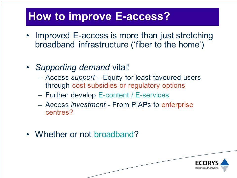 How to improve E-access.
