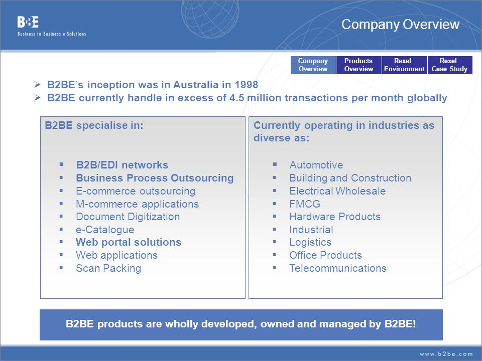 B2BE products are wholly developed, owned and managed by B2BE! B2BEs inception was in Australia in 1998 B2BE currently handle in excess of 4.5 million