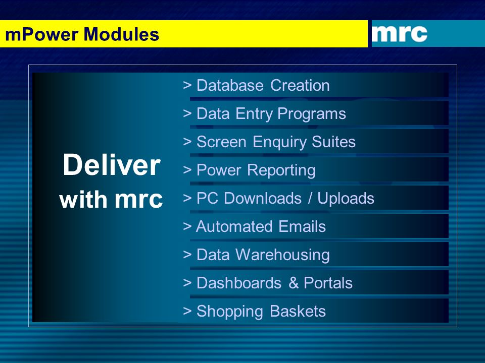 mPower Modules Deliver with mrc > Database Creation > Data Entry Programs > Screen Enquiry Suites > Power Reporting > PC Downloads / Uploads > Automat